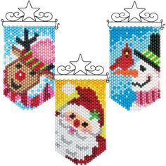 Christmas Perler Beads, Easy Christmas Ornaments, Diy Perler Beads, Xmas, Pony Bead Crafts, Beaded Crafts, Beaded Ornaments, Pony Bead Patterns, Peyote Patterns