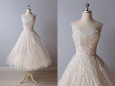 RESERVED 1950s Wedding Dress / 50s Tea Length Wedding Dress / Strapless Wedding Dress / Forever and Always