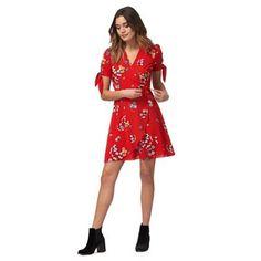 bc8c4c499658 Red Herring Red floral print v-neck mini wrap over tea dress