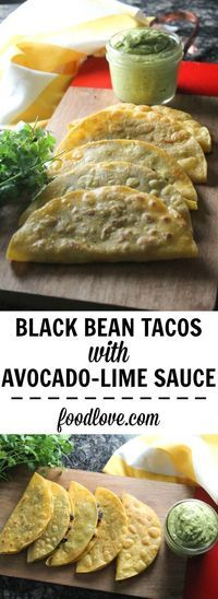 Crispy Black Bean Tacos with Avocado-Lime Sauce: a quick and easy vegetarian meal, loaded with flavor.