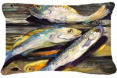 Fish on The Dock Indoor/Outdoor Throw Pillow