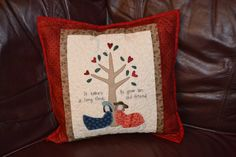 """Applique Pillow Cover Friendship Embroidery Red and Tan16"""" Pillow Cover"""