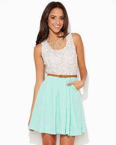 Shop online for fashion apparel like this delightful combo dress featuring a lacy top, colorful pleated skirt and detachable belt.