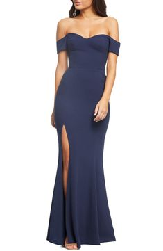 Women's Dress The Population Logan Off The Shoulder Evening Dress, Size XX-Small - Blue Cheap Long Dresses, Cheap Cocktail Dresses, Affordable Prom Dresses, White Cocktail Dress, Dresses For Less, Summer Dresses For Women, Off Shoulder Evening Dress, Discount Prom Dresses, Junior Party Dresses