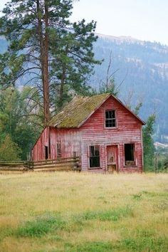 OLD RUSTIC RED FARM HOUSE