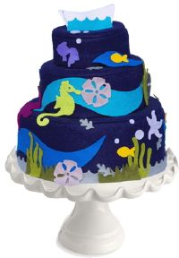 stylized ocean cake with colorful graphic decorations