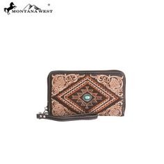 Western Aztec Collection Wallet-Coffee