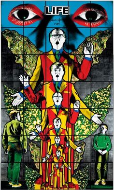 Gilbert and George's colourful piece depicts the artists themselves as angels, amongst male figures, leaves and graphic eyes. Contemporary Art Daily, Contemporary Artists, Modern Art, Pop Art, Gilbert & George, Graphic Eyes, Art Moderne, Art Design, Graphic Design