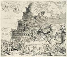 Cornelisz Anthonisz, La chute de la tour de Babel, 1547, eau-forte. © Bruxelles, Bibliothèque royale de Belgique.