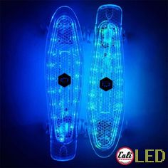 CALI Strong LED Light Skateboard with LED Light Wheels brings the retro back. A banana board with a rechargeable LED illuminated deck. Skateboard Light, Skateboard Deck Art, Penny Skateboard, Surfboard Art, Skateboard Design, Skateboard Girl, Vans Girls, Surf Girls, Abercrombie Girls