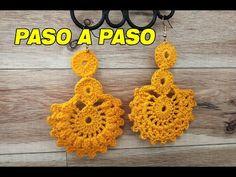Beautiful crochet earrings, easy and simple ! Hermoso Aretes en crochet, faciles y sencillos! Crochet Blanket Patterns, Crochet Motif, Crochet Stitches, Knit Crochet, Crochet Earrings Pattern, Crochet Necklace, Diy Crafts Jewelry, Homemade Jewelry, Fabric Jewelry
