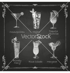Chalk drawings cocktail menu vector chalkboard drink by annbozhko on VectorStock®
