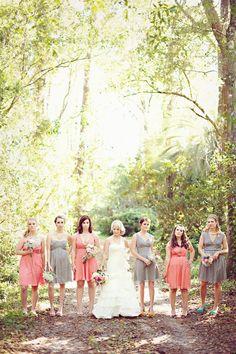 grey and coral wedding ideas 10