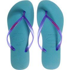 the latest 7bd1d 2e52d HAVAIANAS Slim Turquoise Purple    Rubber thong sandals ( 32) ❤ liked on  Polyvore featuring shoes, sandals, flip flops, rubber sandals, beach sandals,  ...