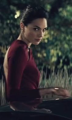 Escada Long-Sleeve Crystal-Collar Gown, Dark Tivoli Red inspidred by Diana Prince / Wonder Woman in Batman v Superman: Dawn of Justice | TheTake