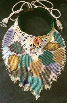 Dyed lace & seed bead fringe.  Sold off my neck at a bar in Oregon