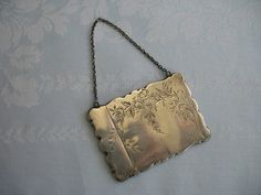 Antique Victorian Sterling Silver Calling Card Case w Chain