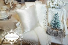 White Christmas BenchDollhouse Miniature by RibbonwoodCottage, $39.00