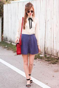 blush sheer top, & polka dot skirt, & red purse <3!!! ~~ #SteffysProsAndCons