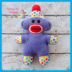 Sock Monkey Softie Machine Embroidery File by MommaMC on Etsy