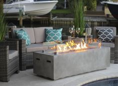 "60"" Rectangular Modern Concrete Gas Fire Pit Table in Gray – Shop4Patio.com"