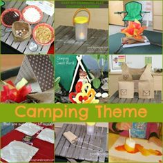 Camping Theme Activities for Preschool and Kindergarten Festival Camping, Camping Dramatic Play, Preschool Summer Camp, Preschool Camping Theme, Classroom Camping Theme, Camping Theme Crafts, Summer School Activities, Summer Camp Themes, Camping Crafts For Kids