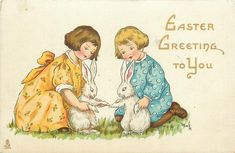 Divided Back Postcard Easter Greeting to You with Children & Bunnies With Bunnies