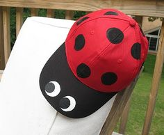 Ladybug Baseball Hat - Cute hat craft you can even make with the kids!