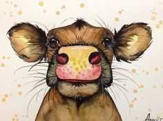 "5""х7"" COW Original watercolor animal painting signed by Angor"