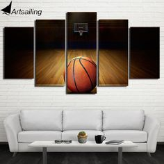 check price 5 piece canvas art hd printed basketball course painting wall pictures for gym decor modular #modular #walls