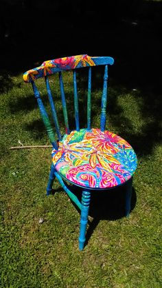 Functional Art Garden Chair From Set 1 by TheImpossibleChild Whimsical Painted Furniture, Painted Chairs, Hand Painted Furniture, Funky Furniture, Recycled Furniture, Colorful Furniture, Home Decor Furniture, Furniture Projects, Cool Chairs