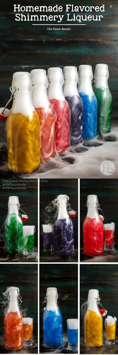 Homemade Flavored Shimmery Liqueur - I'm sharing with you how to make your own FLAVORED shimmery liqueur at home in all the colors of the rainbow, using homemade vodka infusions. Perfect for Halloween, special occasions or themed parties!