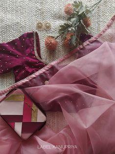 Old Rose Organza Pearl Work Saree Saree Blouse Neck Designs, Saree Blouse Patterns, Saree Floral, Pink Saree, Pearl Work Saree, Saree Color Combinations, Indian Fashion Dresses, Fashion Outfits, Stylish Blouse Design