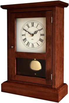 Amish Shaker Mantel Clock Amish Clocks Collection This quality clock is handcrafted by skilled Amish woodcrafters in Ohio. Built to last a lifetime, this chiming clock will be treasured for generations to come. Mantel Clocks, Wood Clocks, Mantle, Antique Clocks, Maple Stain, Oak Stain, Sistema Solar, Craftsman Clocks, Craftsman Furniture