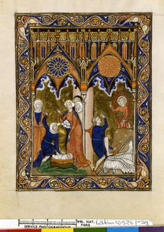 Psalter of St. Louis (BNF Latin 10525), c. 1270, fols.29v Cap of some sort on middle figure.