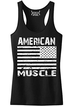 6686929fbd4 Grunge American Muscle Flag Junior s Black Racerback Tank Top T-Shirt X- Large Black