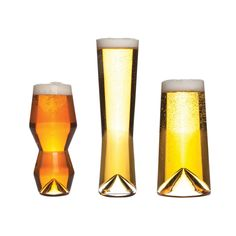 Each is specifically designed to hold one type of beer (IPA, pilsner, pint, or 12-ounce) based on its carbonation level.