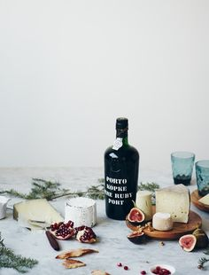 Food styling and photography. Port. Wine. Cheese. Figs. Pomegranate.