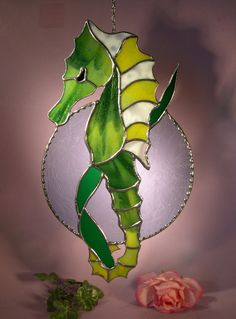 Stained Glass Sea Horse Holding onto a by StainedGlassbyWalter, $54.95