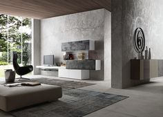 shop@coro.it  PRESOTTO | Matt bianco candido lacquered base units, wall-hung bench and bookcase, matt bianco candido lacquered wall unit carcass with patchwork Galaxy stone fronts. The wall-hung inclinArt sideboard can be seen in the background.__ Base, panca sospesa e libreria in laccato opaco bianco candido, struttura elementi pensili in laccato opaco bianco candido con frontali in pietra patchwork Galaxy. Sullo sfondo madia sospesa inclinART.