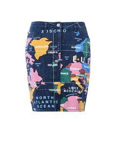 Denim map skirt