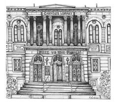 An 8x5x11 art print of my originally hand drawn illustration, Carnegie Library, in Pittsburgh.  (Please note, this drawing has quite a bit of white space at the bottom of the print. You can crop to the size youd like, all signage is close to the line work/drawing itself. I did this so it can be framed easily without custom framing if desired and cropped if you prefer!) example of how it is laid out on the page can be seen in the 2nd image. Can be cropped to 8x8  This piece will come to y...