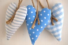 Christmas Heart Decorations - Set of 3 in Blue Fabrics with Linen String