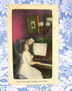 Romance Postcard 1911 The Love Note Hand Colored by RuthsBargains