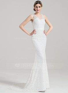 [US$ 169.99] Trumpet/Mermaid V-neck Sweep Train Lace Wedding Dress With Bow(s)…