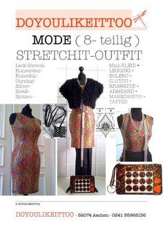 Lack-Stretch-Mini-Kleid/Gr.36/Fell-Bolero+Kette+Armband+Tattoo+Clutch+Manschette in Kleidung & Accessoires, Sonstige | eBay!
