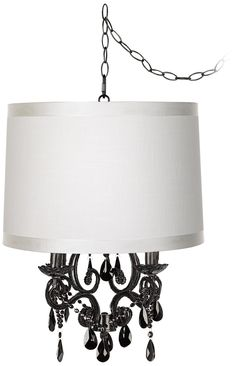 Black Glass Off-White Designer Shade Plug-In Chandelier -