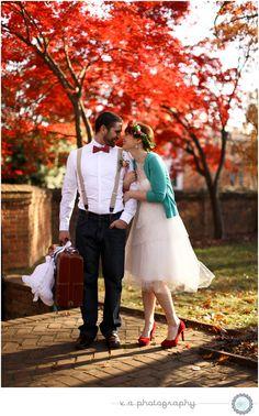 red | fall | wedding  | bride & groom
