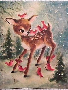 Vintage Mid Century Unused French Christmas Card Fawn & Pink Birds