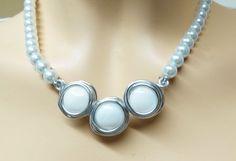 HOLIDAYS SALE - Bridal Jewelry, Bridal Necklace, Wedding Jewelry, Wedding Necklace,  White Pearl Jewelry, White Pearl Necklce, White Shell P